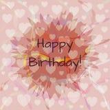 Tarjeta del feliz cumpleaños Fondo cuadrado rosado abstracto con los corazones Fotos de archivo