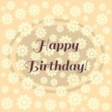 Tarjeta del feliz cumpleaños Fondo en colores pastel simple cuadrado con la flor Fotografía de archivo