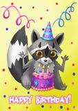 Tarjeta del feliz cumpleaños Mapache con una torta Imagen de archivo