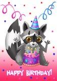 Tarjeta del feliz cumpleaños Mapache con una torta Foto de archivo libre de regalías