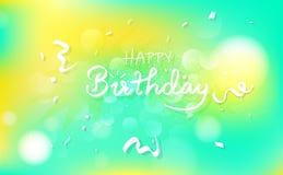 Tarjeta del feliz cumpleaños y de la enhorabuena, callig del partido de la celebración stock de ilustración