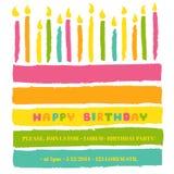 Tarjeta del feliz cumpleaños y de la invitación del partido Imágenes de archivo libres de regalías