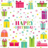 Tarjeta del feliz cumpleaños y de la invitación del partido ilustración del vector