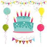 Tarjeta del feliz cumpleaños y de la invitación del partido Fotografía de archivo libre de regalías