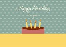 Tarjeta del feliz cumpleaños con la torta de cumpleaños en los fondos verdes del punto, ejemplos del vector Foto de archivo libre de regalías