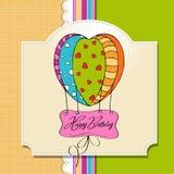 Tarjeta del feliz cumpleaños con los globos. Foto de archivo libre de regalías