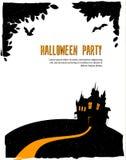 Tarjeta del feliz Halloween con el castillo Imagenes de archivo