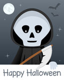 Tarjeta del feliz Halloween con el parca Fotos de archivo