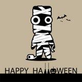 Tarjeta del feliz Halloween con la momia Foto de archivo