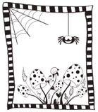 Tarjeta del feliz Halloween con las setas, el web y la araña salvajes libre illustration