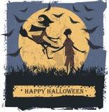 Tarjeta del feliz Halloween con las siluetas preciosas de los pares Imagenes de archivo
