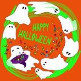Tarjeta del feliz Halloween con los fantasmas divertidos Imagen de archivo libre de regalías