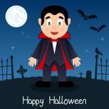 Tarjeta del feliz Halloween de Drácula Imagen de archivo