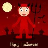 Tarjeta del feliz Halloween del diablo rojo Imagenes de archivo