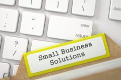 Tarjeta del fichero con las soluciones de la pequeña empresa de la inscripción 3d Foto de archivo libre de regalías
