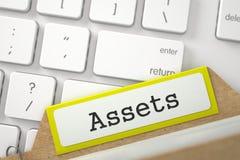Tarjeta del fichero con los activos 3d Imágenes de archivo libres de regalías