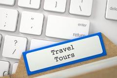 Tarjeta del fichero con viajes del viaje de la inscripción 3d Foto de archivo
