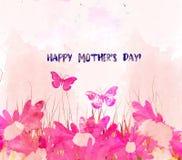 Tarjeta del flor de la acuarela Día de madres libre illustration
