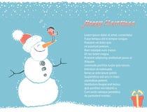 Tarjeta del fondo del invierno de la Navidad con el muñeco de nieve para  ilustración del vector