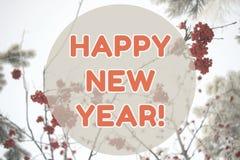 Tarjeta del fondo del paisaje del invierno de la Feliz Año Nuevo en colores anaranjados en colores pastel Fotos de archivo libres de regalías