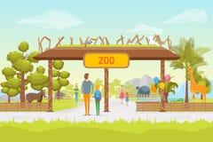 Tarjeta del fondo del panorama de la entrada del parque zoológico de la historieta Vector libre illustration