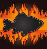 tarjeta del fuego de los pescados de la tarjeta del menú de la parrilla de la pizarra Fotos de archivo