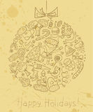 Tarjeta del garabato de la Navidad Fotos de archivo libres de regalías