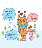 Tarjeta del gato del copo de nieve Imagenes de archivo