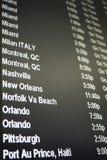 Tarjeta del horario de vuelo Imagen de archivo