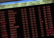 Tarjeta del horario de vuelo Fotografía de archivo libre de regalías