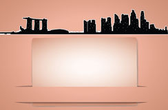 Tarjeta del horizonte de la ciudad del vector en estilo retro imagenes de archivo