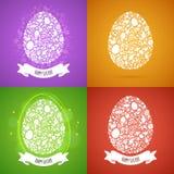 Tarjeta del huevo de cuatro Pascua de los objetos blancos Imagen de archivo libre de regalías
