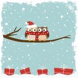 Tarjeta del invierno con dos búhos Fotos de archivo libres de regalías