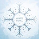Tarjeta del invierno con el copo de nieve geométrico hermoso Fondo del estilo de Grunge Fotos de archivo libres de regalías