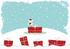 Tarjeta del invierno con el pequeño pájaro Imagenes de archivo