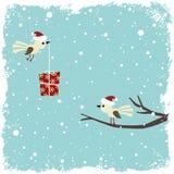 Tarjeta del invierno con los pájaros Imagen de archivo
