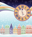 Tarjeta del invierno de la Feliz Navidad con el reloj Fotografía de archivo