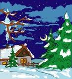 Tarjeta del invierno del Año Nuevo en azul   Imagen de archivo