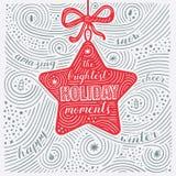 Tarjeta del invierno Las letras - los momentos más brillantes del día de fiesta Diseño del Año Nuevo/la Navidad Modelo manuscrito Fotografía de archivo