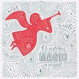 Tarjeta del invierno Las letras - magia de la Navidad alrededor Diseño del Año Nuevo/la Navidad Modelo manuscrito del remolino Imagen de archivo