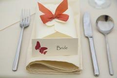 Tarjeta del lugar de la boda Imágenes de archivo libres de regalías