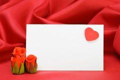 Tarjeta del lugar de las tarjetas del día de San Valentín Imagenes de archivo