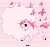 Tarjeta del lugar del unicornio del bebé Fotos de archivo libres de regalías