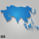 Tarjeta del mapa de Asia Fotos de archivo libres de regalías