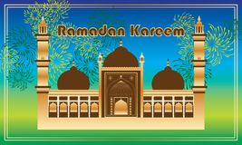 Tarjeta del marco del fuego artificial de Ramadan Kareem India Delhi Imagenes de archivo