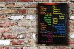 Tarjeta del menú. Imagen de archivo