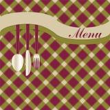 Tarjeta del menú con la fork, el cuchillo y la cuchara Ilustración del Vector