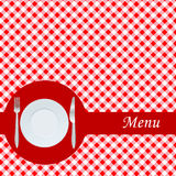 Tarjeta del menú con la placa, la fork y el cuchillo Foto de archivo