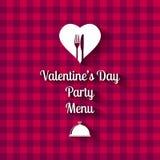 Tarjeta del menú de la cena del día de tarjetas del día de San Valentín Foto de archivo