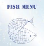Tarjeta del menú de los pescados Fotografía de archivo